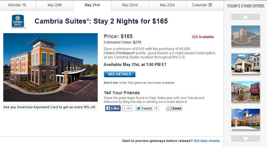 Choice Hotels points packages