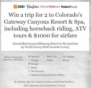 Win a trip to Colorado.