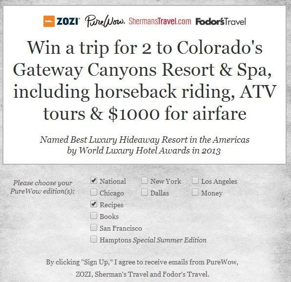 Win a trip to Colorado.