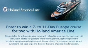 Win a cruise from the Holland America Line
