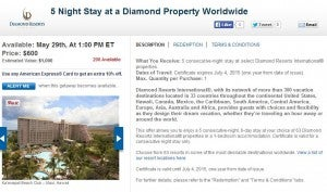 A 5 night stay at a Diamond resort for $600