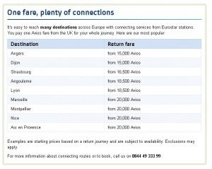 Eurostar Rates