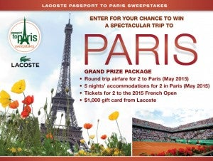 Win a trip to see the French Open in 2015