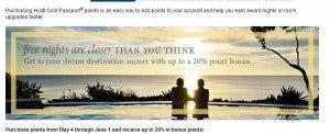 Get bonus points when purchasing Hyatt Gold Passport points