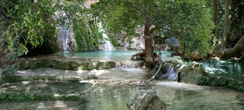 The hot springs in Mylopotamos, Kythira, Greece.
