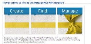 Create a United Mileage Plus wedding registry for your wedding!