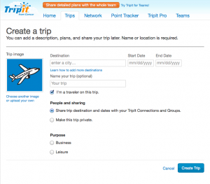 Create a Trip to track flights, hotel stays and activities.