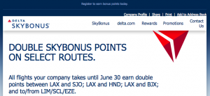 A partial list of the routes covered by this SkyBonus offer of double points