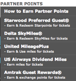 Audience Rewards has several travel partners - Starwood, Delta, United, US Airways and Amtrak