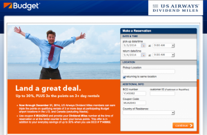 Earn bonus miles and discounts with US Airways' car partners like Budget.
