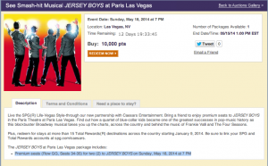 SPG Moments will allow you to redeem 10,000 Starpoints for premium-seat tickets to Jersey Boys for several dates in May 2014
