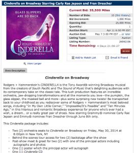 Cinderella package via the Delta SkyMiles Online Auction