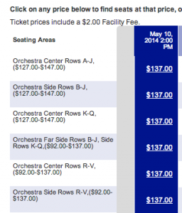 Seats and costs for Cinderella via the special SPG offer