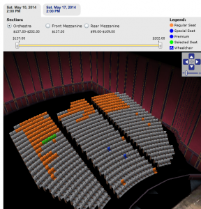 When available orange seats are selected on Telecharge.com. they display as green