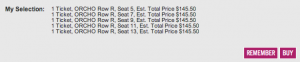 Each $137 ticket is charged an $8.50 service fee, for a total of $145.50 per ticket