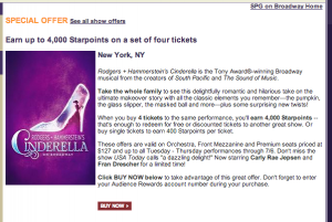 Special SPG offer of 1,000 Starpoints per ticket on a purchase of 4 or more tickets