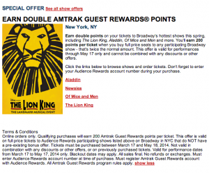 Amtrak's special offers include opportunities to earn double Guest Rewards