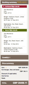 Flying the Etihad's A380 Residence Suite with a February 7-14, 2015 itinerary is a mere $42,