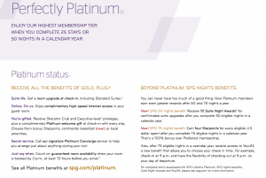 The various benefits of Starwood Preferred Guest Platinum status