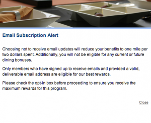To earn 3 miles for every dollar spent through the program, be sure to opt in for emails