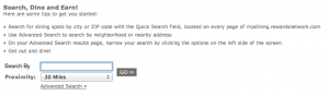 Search fields on each page of the MileagePlus Dining Program allow you to find participating restaurants near you