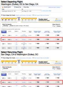 Southwest's Dulles flights are already pricing out.