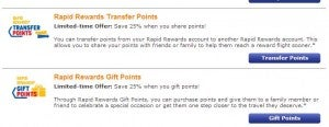 Gift or transfer Southwest Rapid Rewards points.