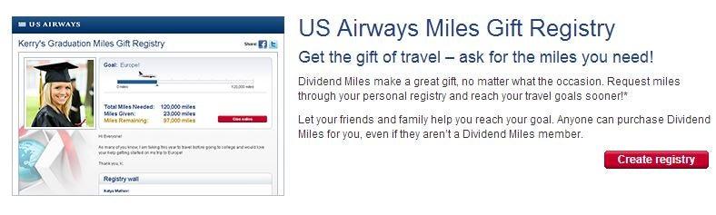 US Airways offers a wedding gift registry.