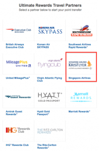 Chase's travel transfer partners now include Singapore.