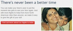 British Airways has India flights on sale for the 'Visit Mum' campaign.
