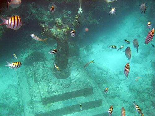 Christ of the Abyss underwater statue in Key Largo, Florida