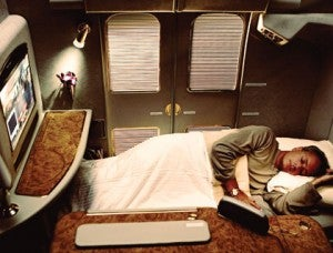 One of Emirates' A380 First Class Suites with its doors closed