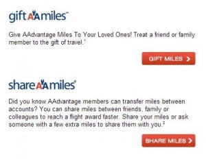 Gift or Share your AA miles.
