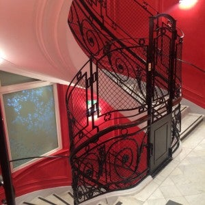 The wrought-iron staircase at the W Paris-Opera is a nod to the