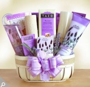 A lavender gift basket from GiftBaskets.com.