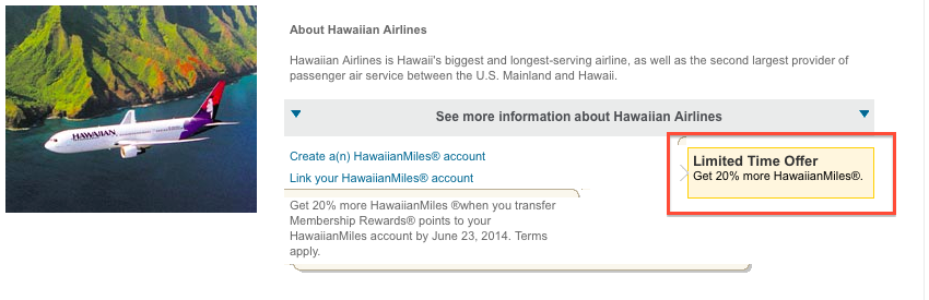 Amex Hawaiian Transfer