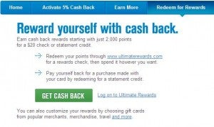 Redeem Ultimate Rewards for cash back.