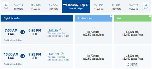 Jetblue Mint fares