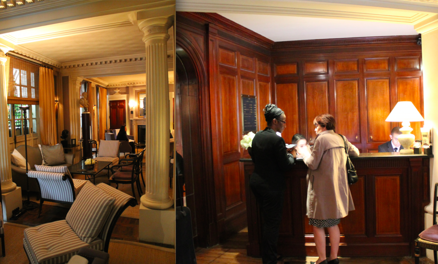 The lobby and check-in desk at the Radisson Blue Le Dokhans