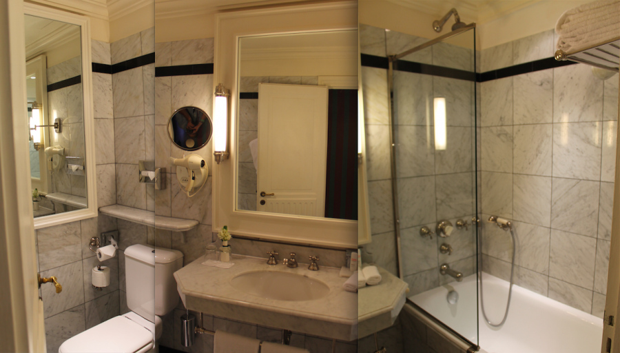 The bathroom in the Business Class Suite at the Radisson Blu Le Dokhan's