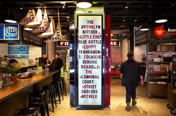 Gotham West Market featuring artisanal purveyors of amazing local and international foods, beers and kitchen goods