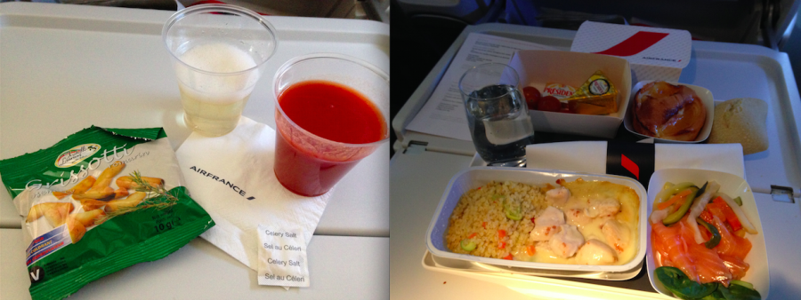 Rosemary crackers followed by my appetizer and main course, not bad Air France!