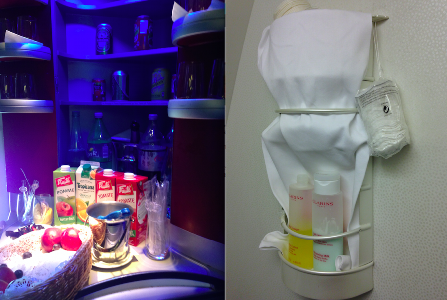 A stocked minibar in the galley and Clarins products in the bathroom, not bad!