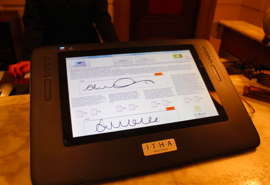 Check-in was handled via a tablet, making the process a quick breeze
