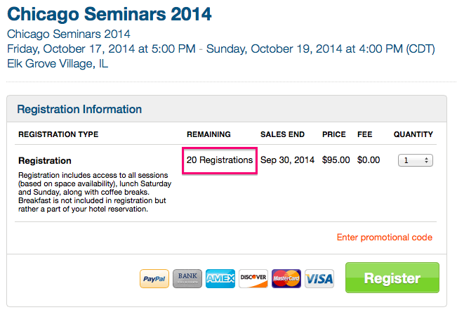 Last Chance For Tickets To The 2014 Chicago Seminars
