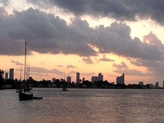 The view of Biscayne Bay from Sunset Harbour