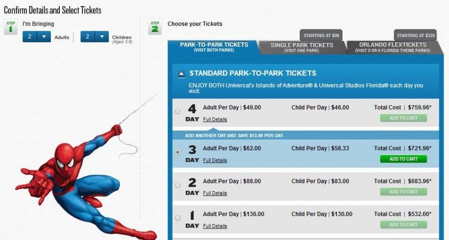 Universal Studios Orlando prices