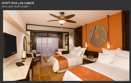 The Hyatt Ziva in Cabo San Lucas Mexico offers a standard room two twin beds or a King and a pull out sofa.