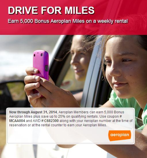 Get bonus Aeroplan miles with Avis weekly rentals