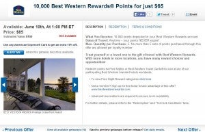 Best Western Reward points